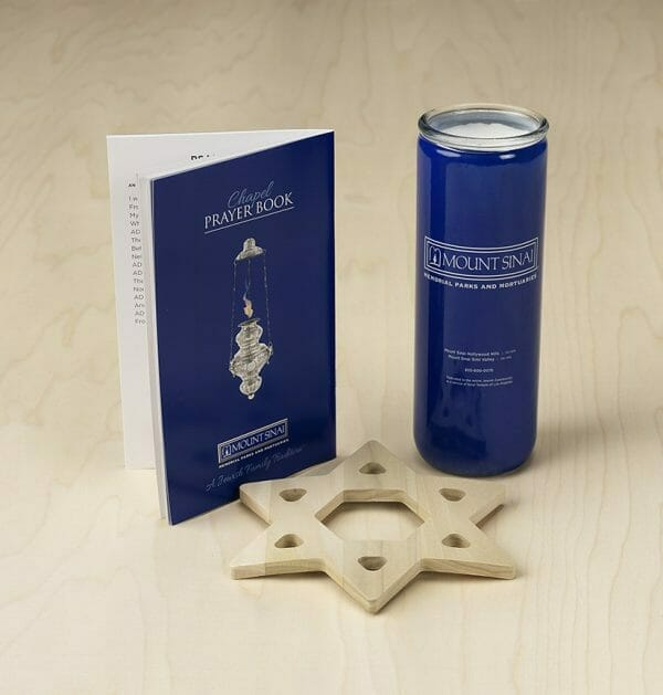 Prayer book Mount Sinai Yartzheit Candle and wooden star