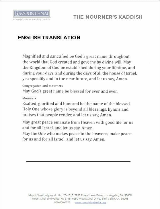 The Mourner's Kaddish English Translation