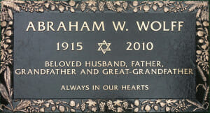 Wolff Abraham W_28 x 16 Bronze Sample Tablet Recd 11-08-12