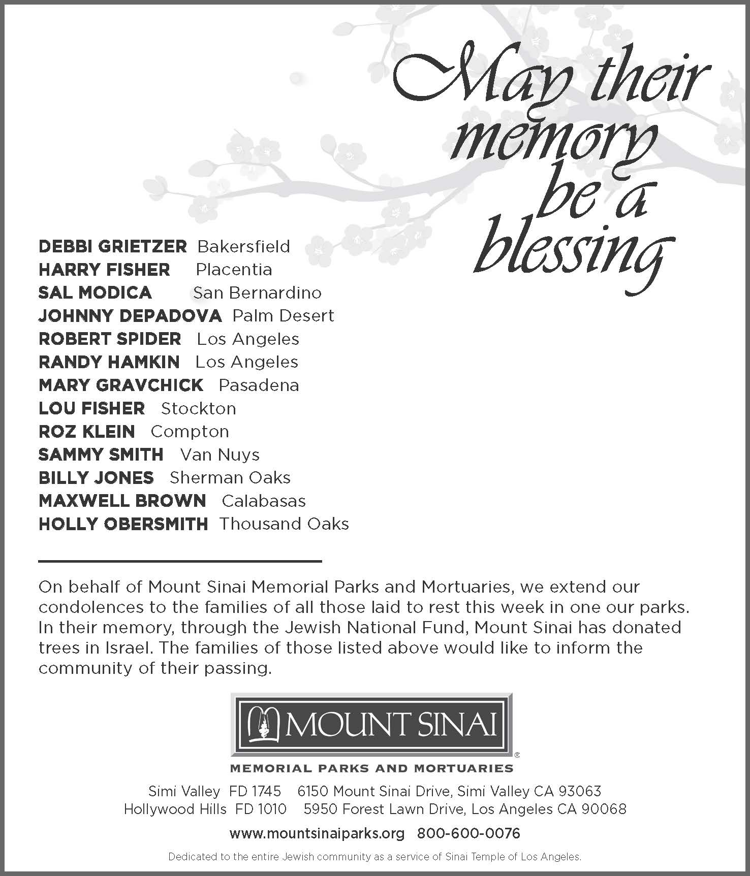 Mount Sinai Obit Ad - sample for editing