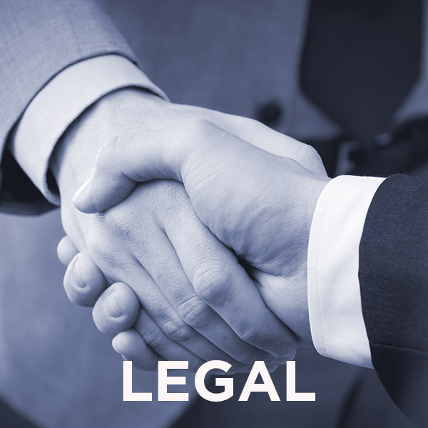 Icon for Legal shows businessmen shaking hands