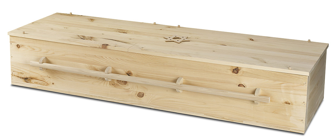 Tefila plain pine casket used in a traditional Jewish funeral service