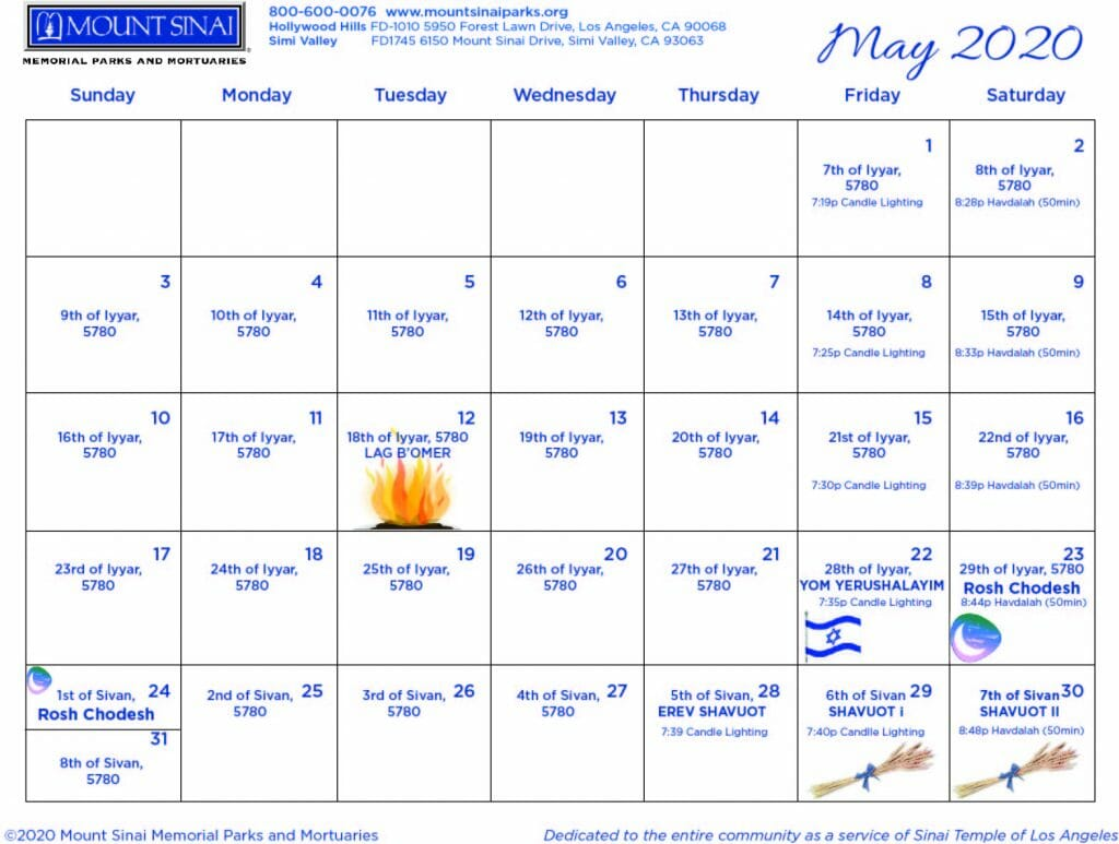 Mount Sinai Jewish Calendar May 2020