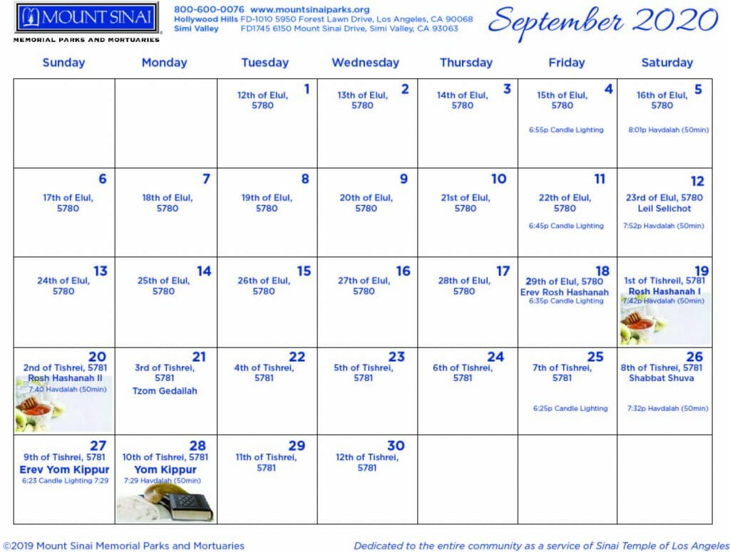 Mount Sinai Jewish Calendar September 2020
