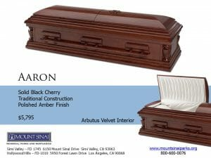 Aarron Casket $5,795, Solid Cherry Traditional Construction; Polished Cherry Finish; Ivory Velvet Interior