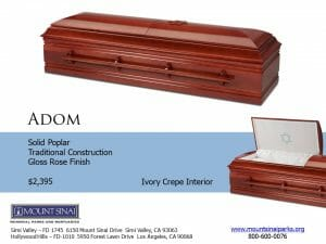 Adom Casket $2,395, Solid Poplar Traditional Construction; Gloss Rose Finish; Ivory Crepe Interior
