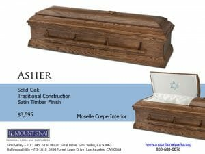 Asher Casket $3,875, Solid Oak Traditional Construction; Satin Timber Finish; Moselle Crepe Interior