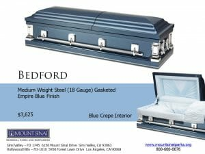 Bedford Casket $3,625, Medium Weight Steel (18 Gauge) Gasketed; Empire Blue Finish; Blue Crepe Interior