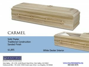 Carmel Casket $1,895 Solid Poplar Traditional Construction; Sanded Finish; White Dexter Interior