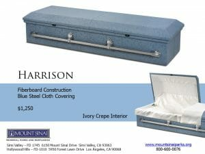 Harrison Casket $1,250, Fiberboard Construction; Blue Steel Cloth Covering; Ivory Crepe Interior