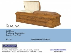 Shalva Casket $3,150, Solid Pine Traditional Construction; Country Pine Finish, Bamboo Weave Interior