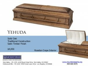 Yehuda Casket $4,050, Solid Oak Traditional Construction; Satin Timber Finish, Rosetan Crepe Interior