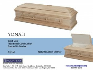 Yonah Casket $3,450, Solid Oak Traditional Construction; Sanded Unfinished; Natural Cotton Interior
